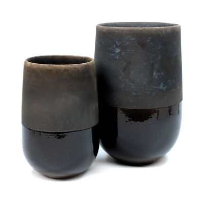 Domani Minsk Raku Plant Vase - Black Collection