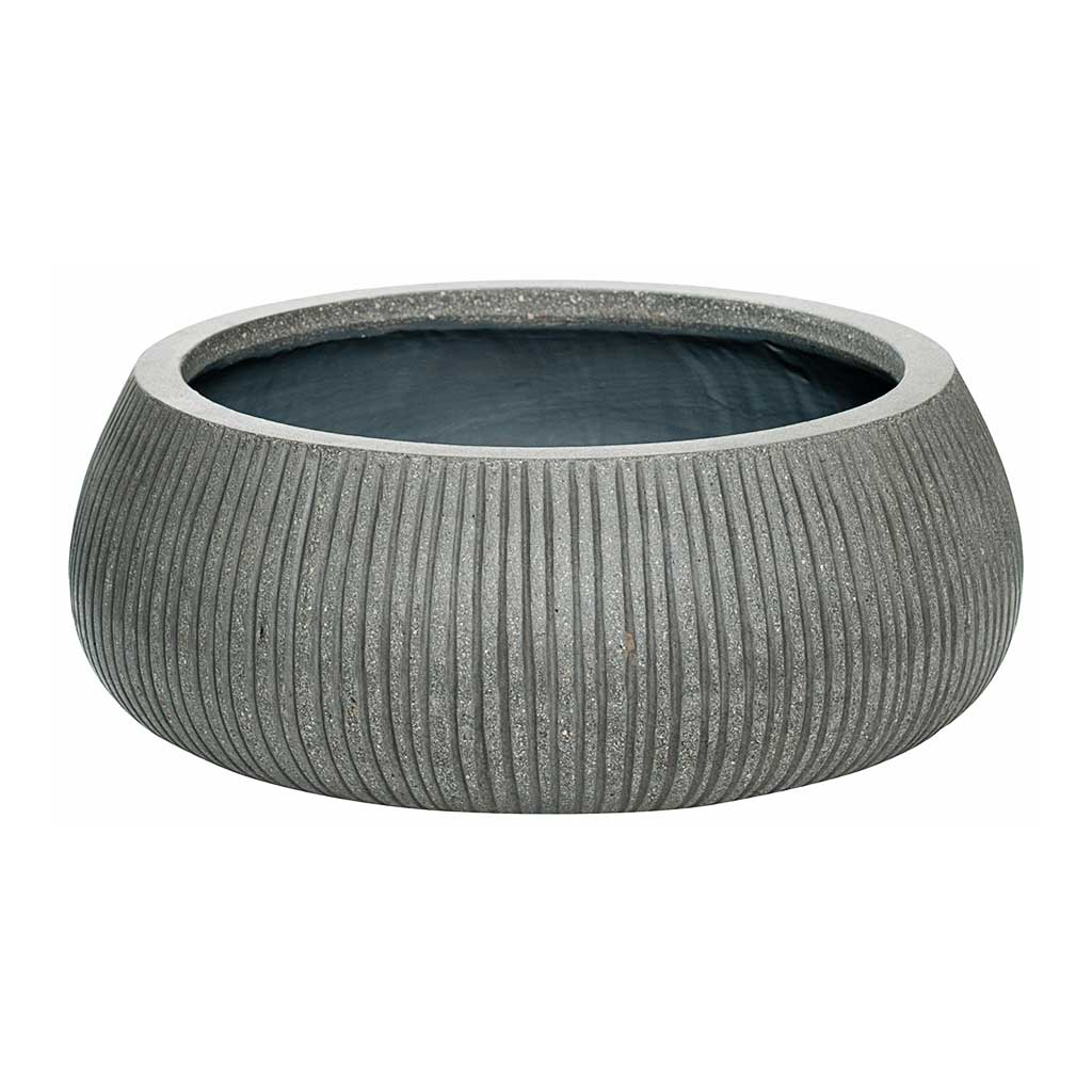 Eileen Plant Bowl Ridged Dark Grey