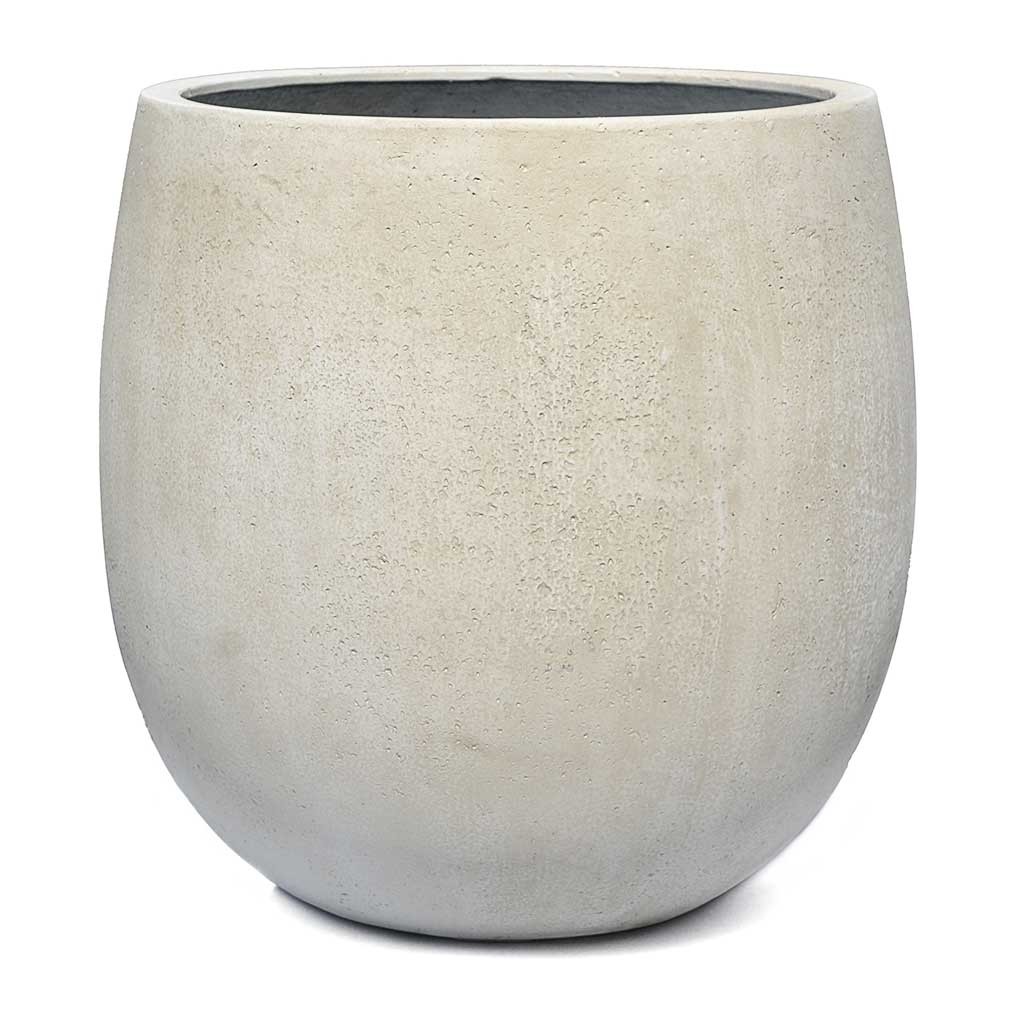 Grigio Balloon Plant Pot - Antique White Concrete