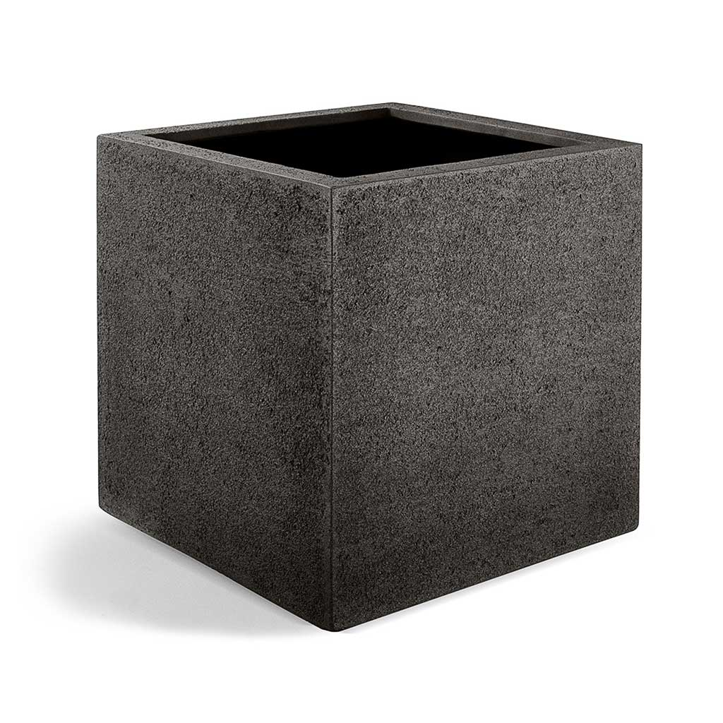 Grigio Cube Planter - Structured Dark Brown