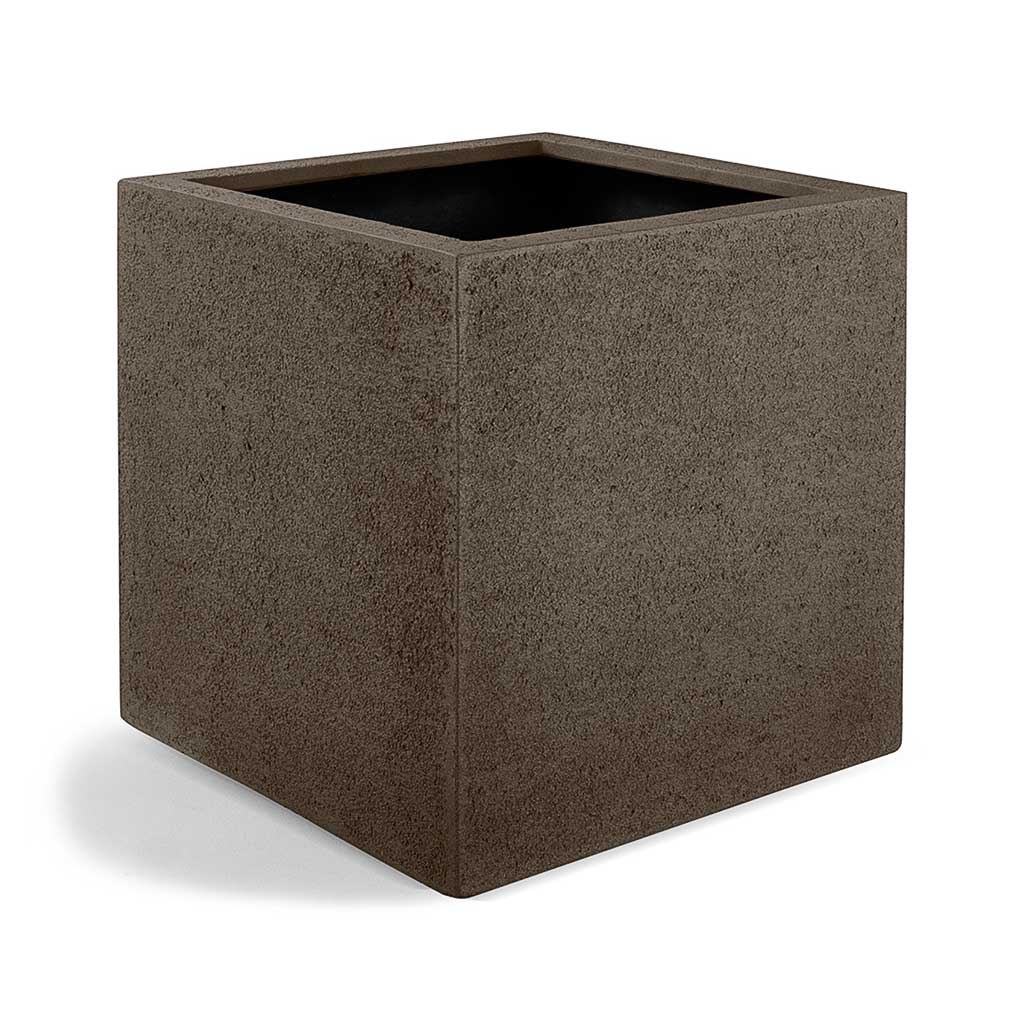 Grigio Cube Planter - Structured Light Brown