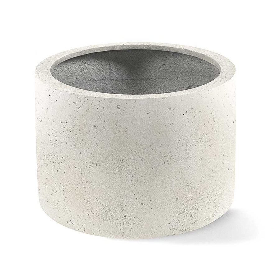 Grigio Cylinder Planter - Antique White Concrete