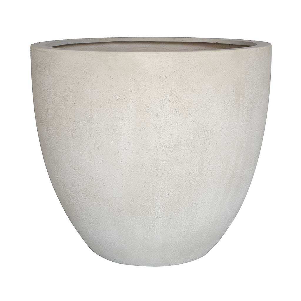 Grigio Egg Pot Planter - Antique White Concrete