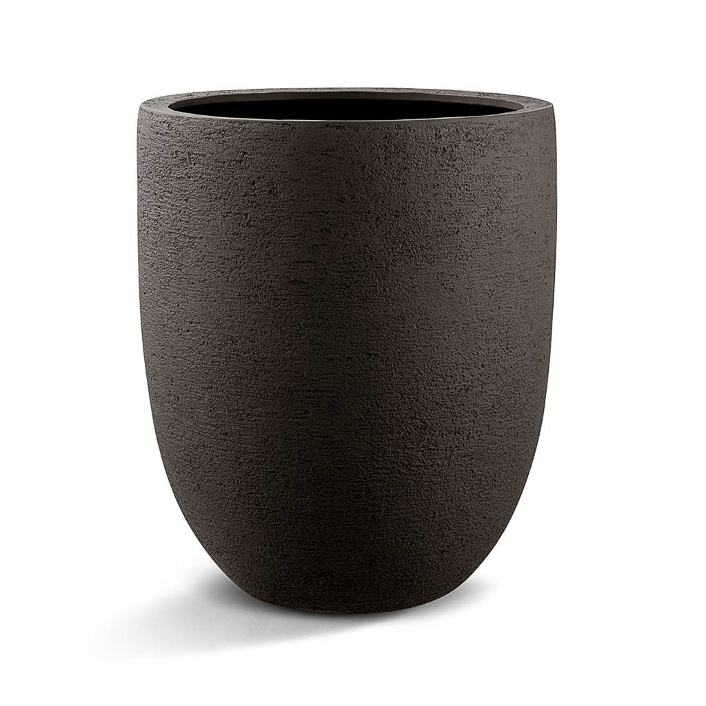 Grigio Tall Egg Pot Planter - Structured Dark Brown