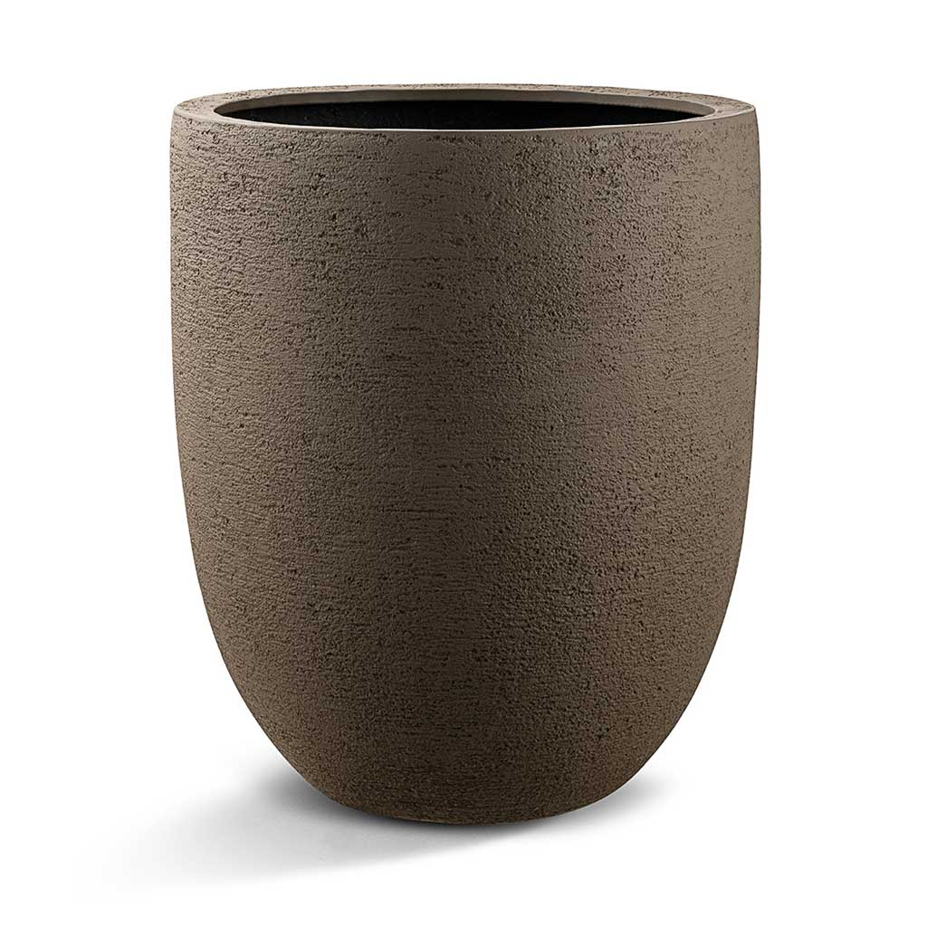Grigio Tall Egg Pot Planter - Structured Light Brown