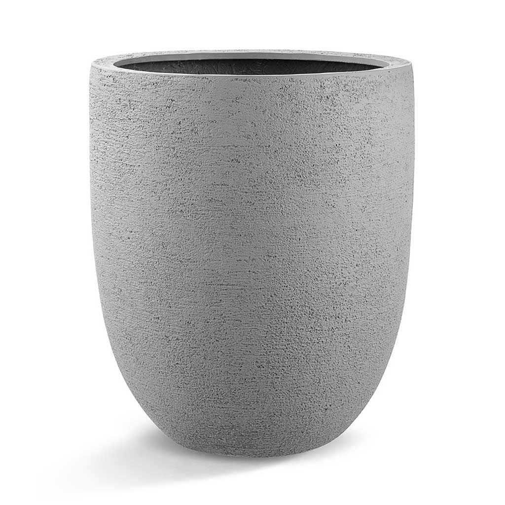 Grigio Tall Egg Pot Planter - Structured Light Grey
