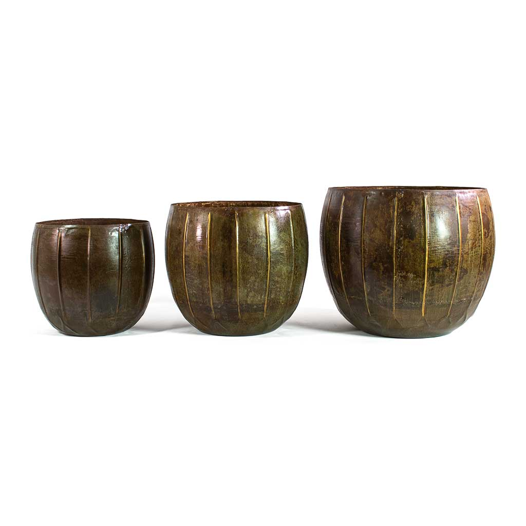 Gusto Metal Plant Pots - Set of 3 - Old Brown