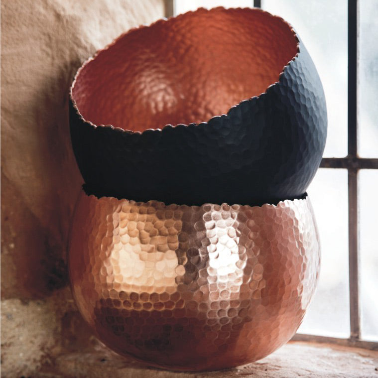 Hammered Bowl - Black with Copper