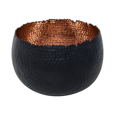 Hammered Houseplant Bowl - Black with Copper 19cm