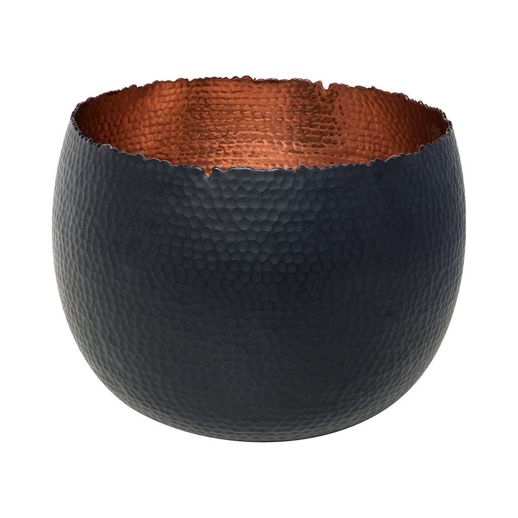 Hammered Houseplant Bowl - Black with Copper 30cm