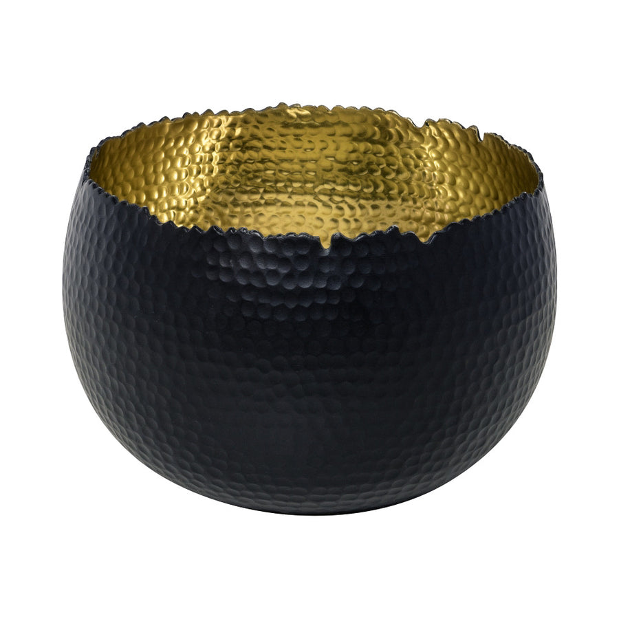 Hammered Bowl - Black with Gold 30cm
