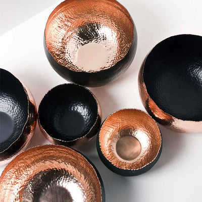 Hammered Houseplant Bowls - Black Copper