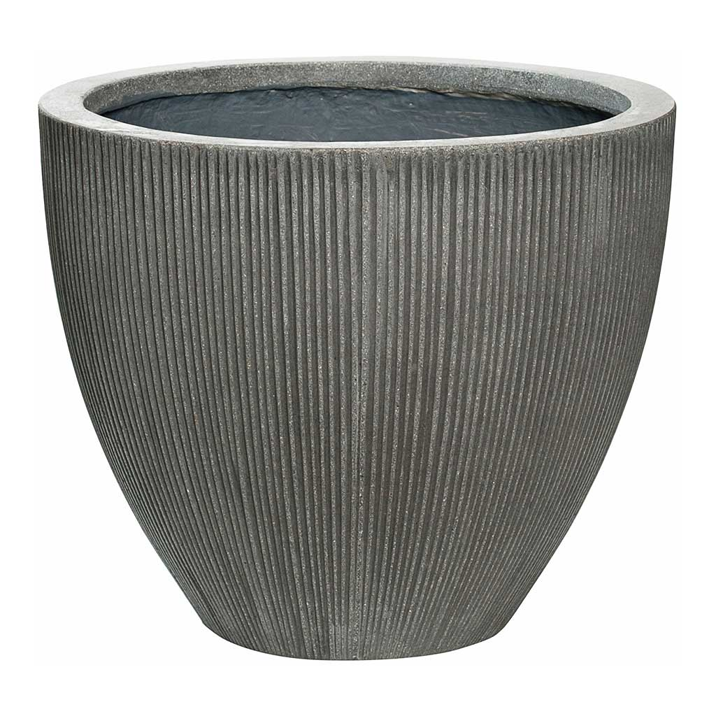 Jesslyn Plant Pot - Ridged Dark Grey