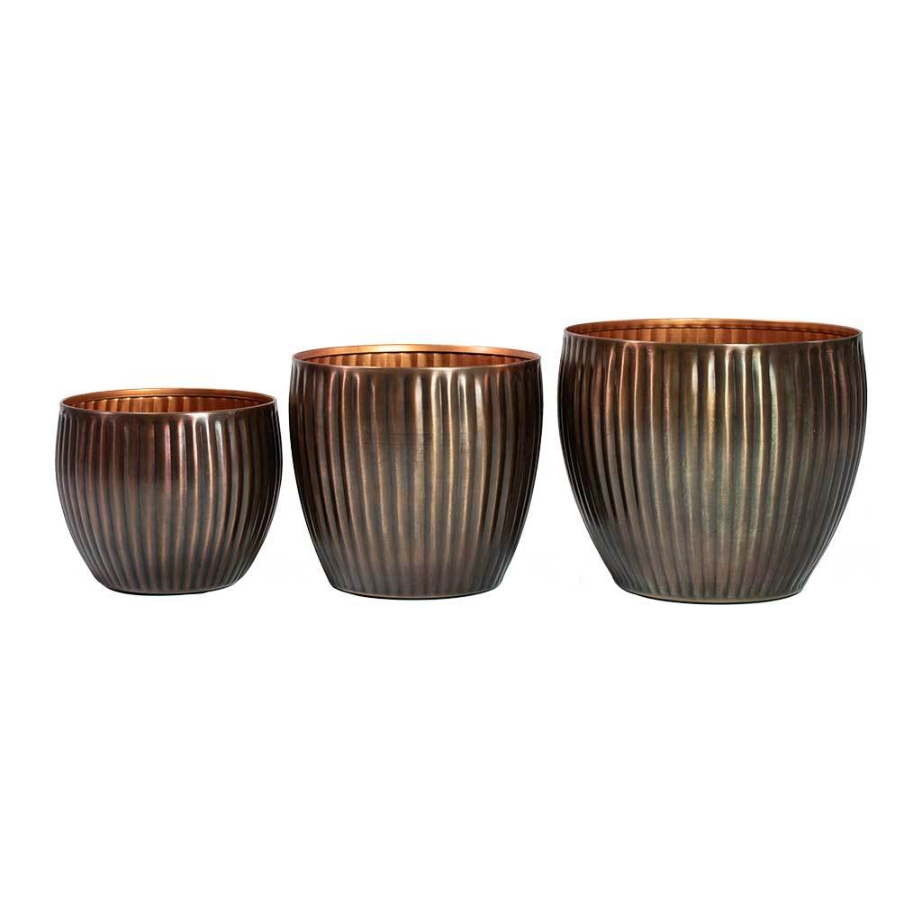 Katy Metal Plant Pots - Set of 3 - Antique Copper