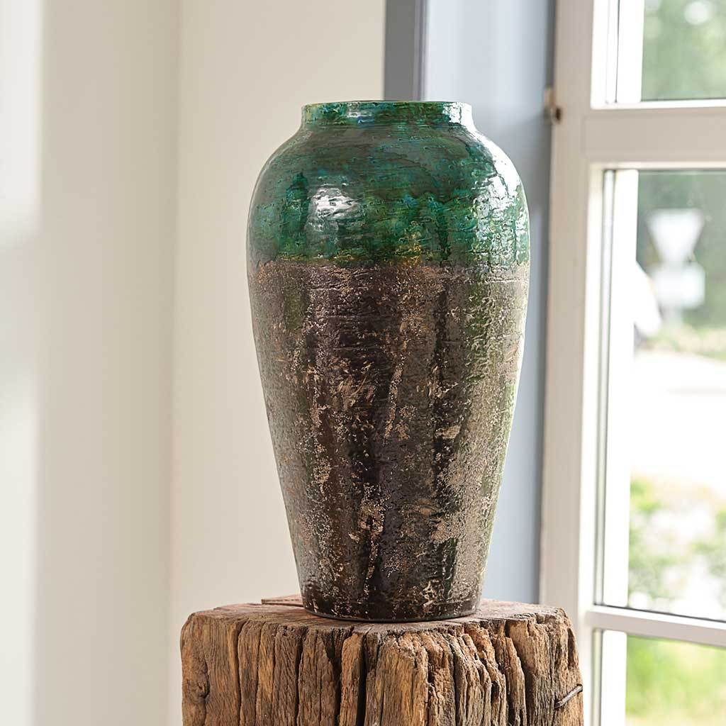 Lindy Bottle Plant Vase - Black Green
