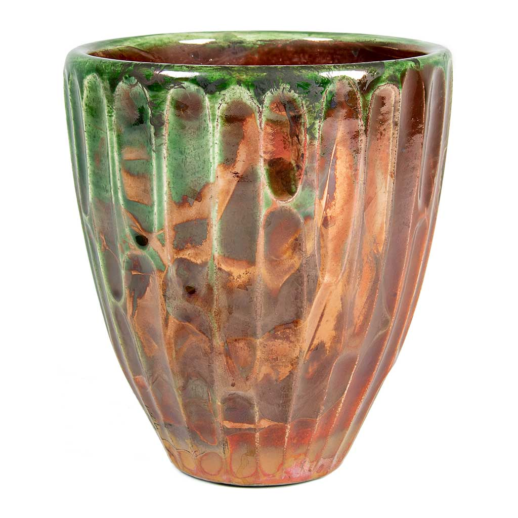 Livin' Beauty Flowerpot - Copper Carved Vertical 15cm