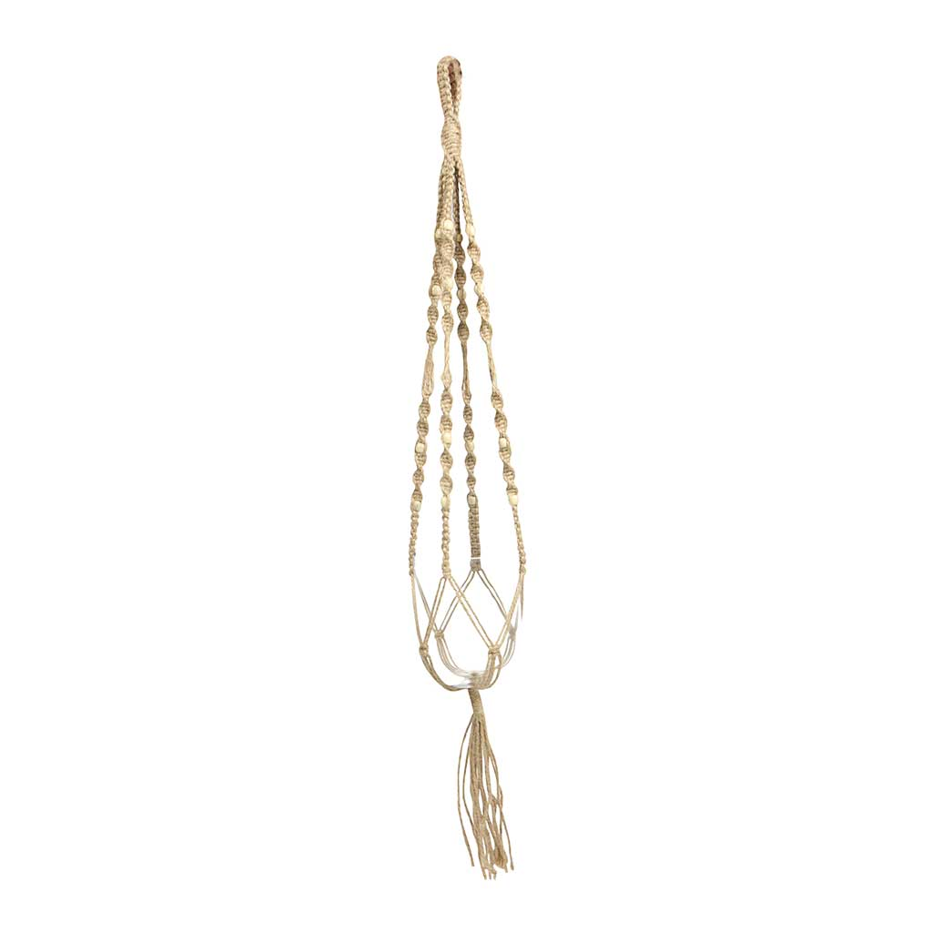 Macrame Plant Pot Hanger - Natural with Beads - 95cm