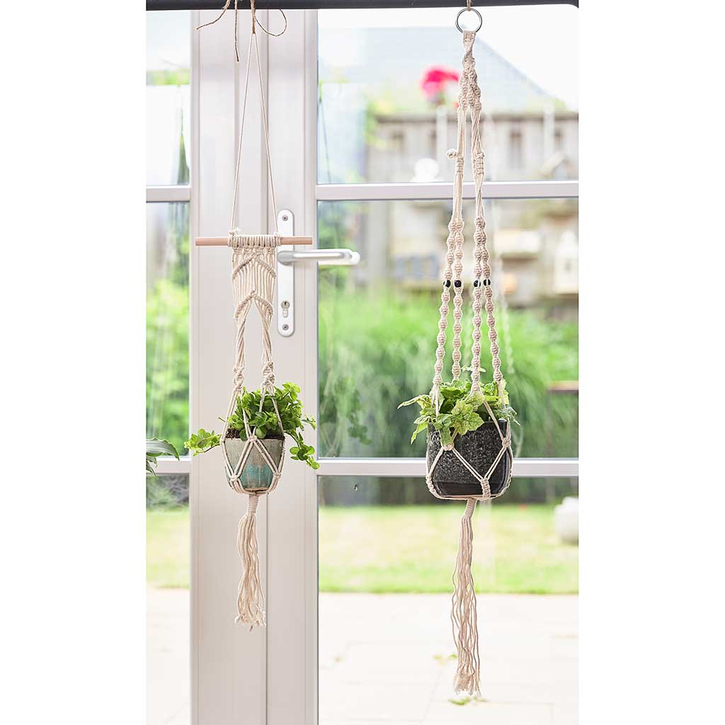Macrame Plant Pot Hanger - Ivory with Black Beads