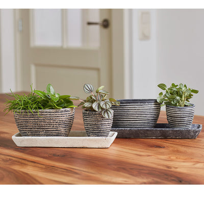 Finn Plant Trays - Sand & Anthracite - Noor Plant Pots