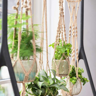 Plant Pot Macrame Hanger - Natural with Beads - Planted
