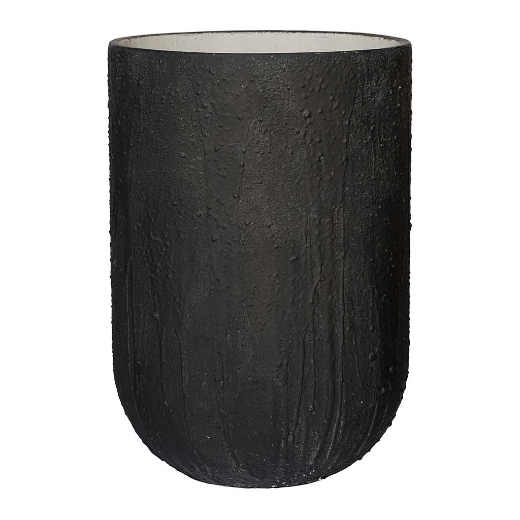 Raw Cody Tall Plant Vase - Burned Black