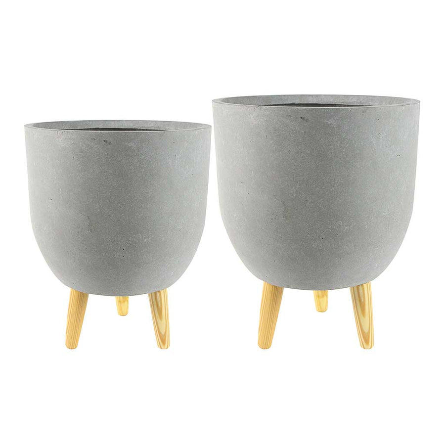 Ruth Plant Pot Stands - Set of Two - Light Grey