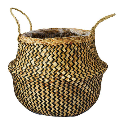 Seagrass Chevron Basket - Black Lined