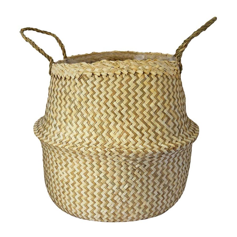 Seagrass Chevron Basket - White Lined