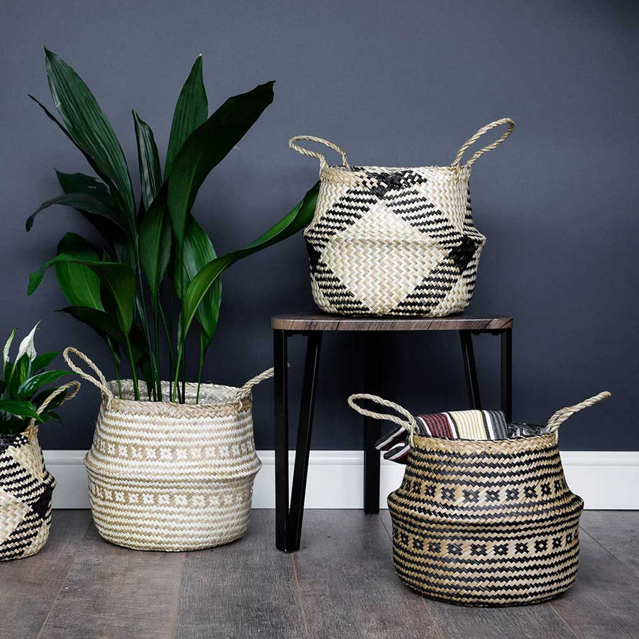 Seagrass Tribal Basket - White Lined