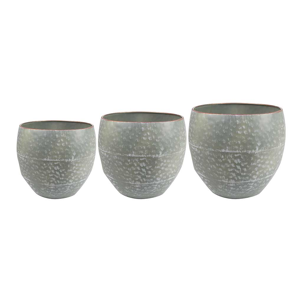 Thomas Metal Plant Pots - Set of 3 - Green
