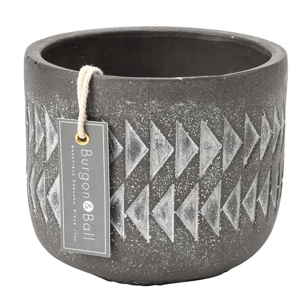 Aztec Plant Pot - Soft Grey