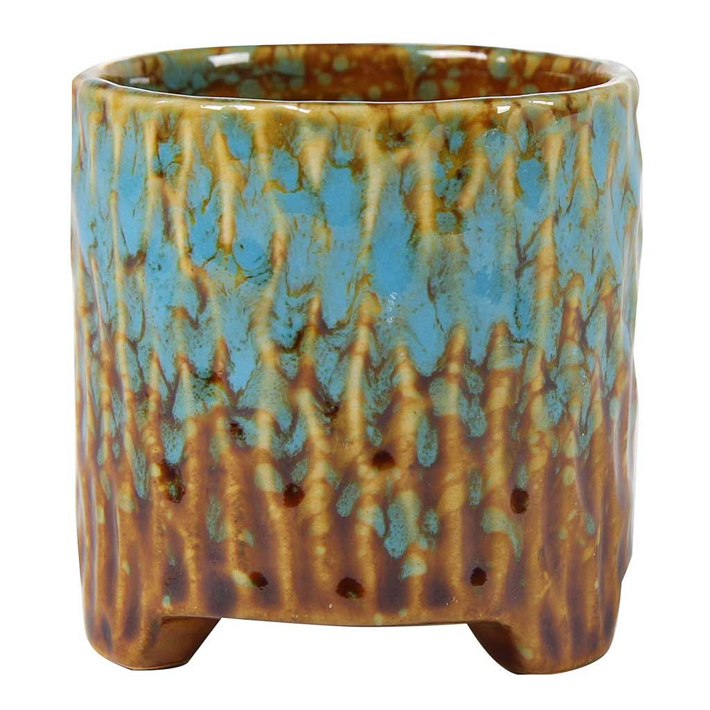 Carice Plant Pot - Blue Brown - Medium