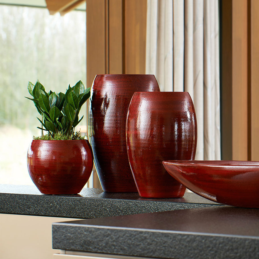 Cresta Plant Bowl - Deep Red