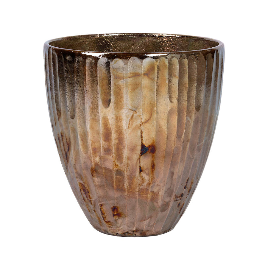 Livin' Beauty Flowerpot - Silver Carved Vertical