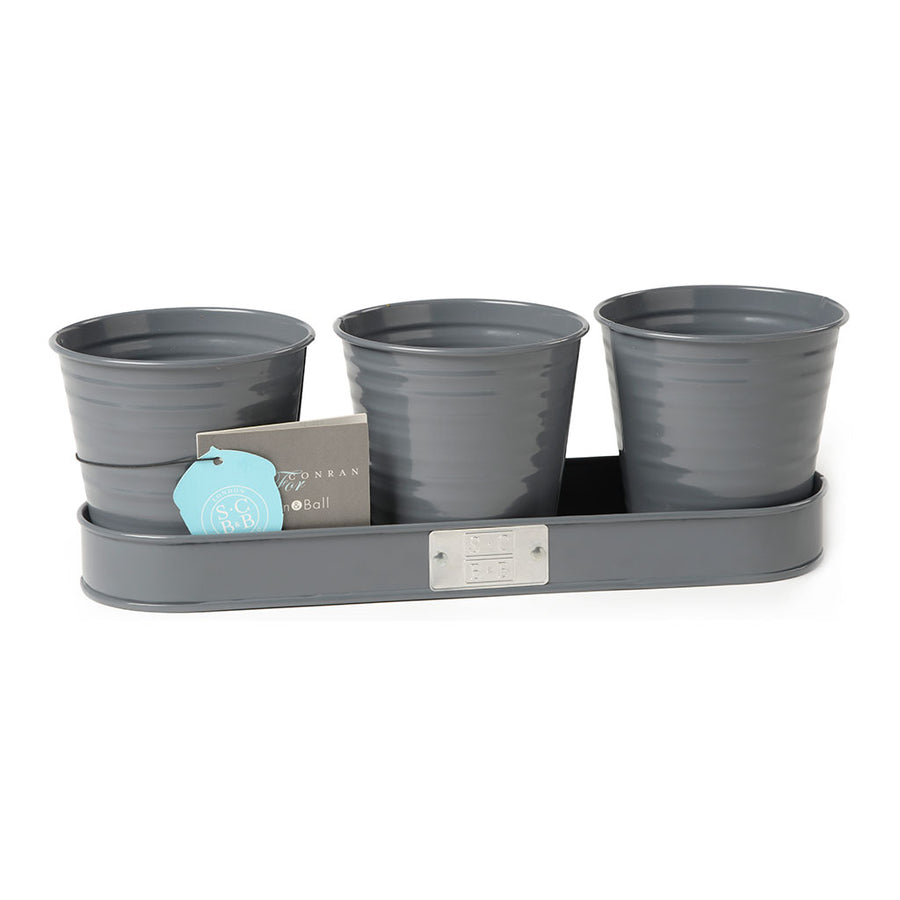 Sophie Conran Set of 3 Herb Pots - Grey