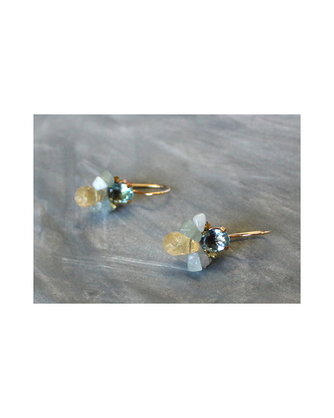 NEW BAROQUE BUMBLE BEE EARRINGS (Aquamarine)