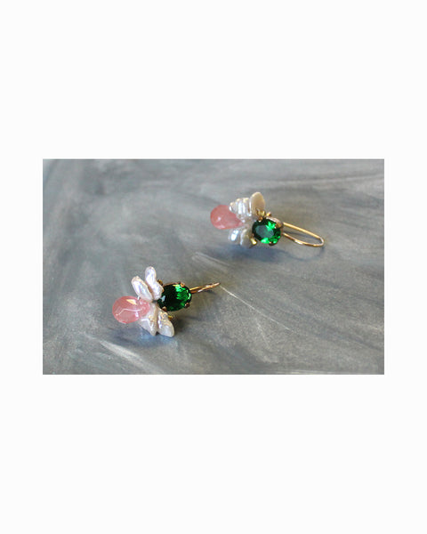 NEW BAROQUE BUMBLE BEE EARRINGS (Crystal & Pearls)