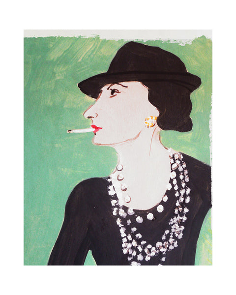 Painted Portrait Coco Chanel