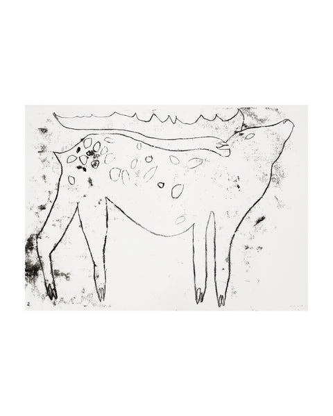 Large Fallow Deer Monoprint