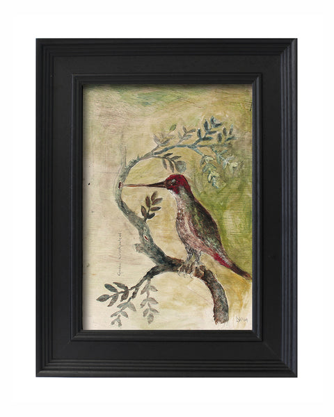 Original Painted Panel - Green Woodpecker