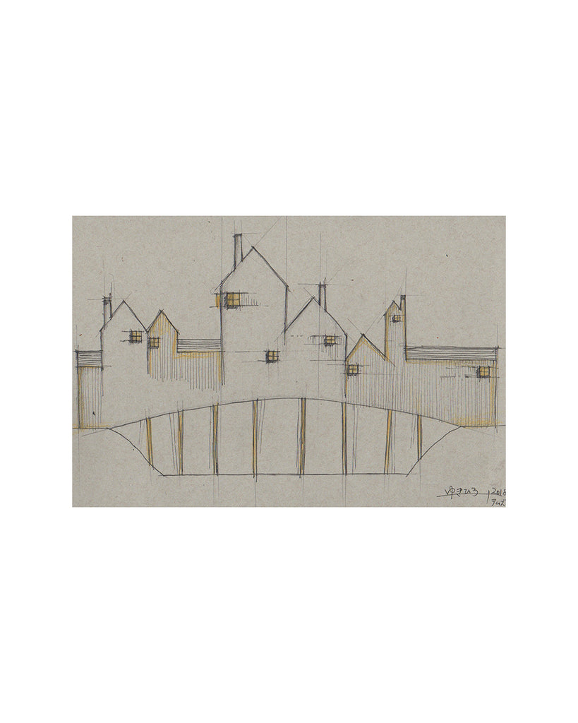 Yukihiro Akama: Original drawing: Village on Bridge 2