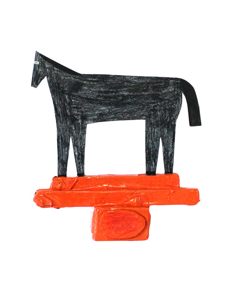 Cardboard Sculpture: Black Horse / Orange Three