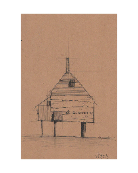 Yukihiro Akama: Original drawing: HOUSE ON A HILL