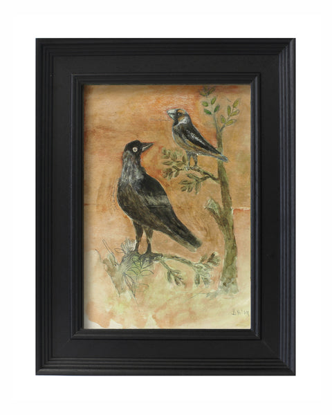 Original Painted Panel -Jackdaw & Hawfinch