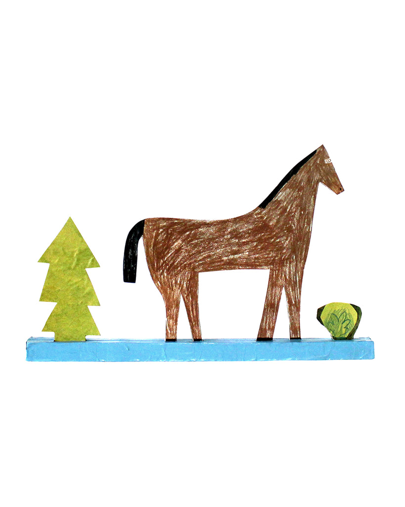 Cardboard Sculpture: Tree, Horse, Bush