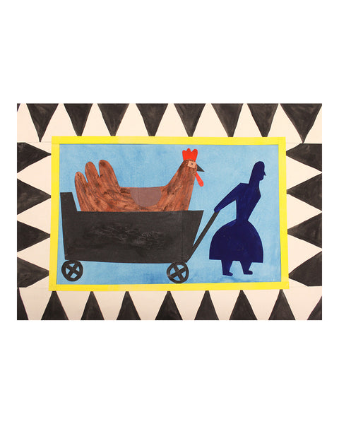 Chicken enroute (Framed Collage on Board)