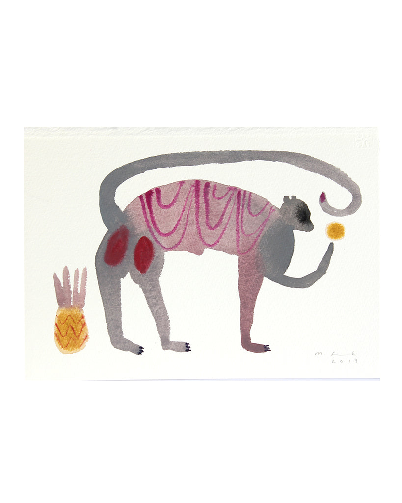 Monkey with Pineapple (Original Watercolour)