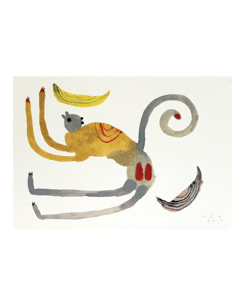 Monkey with Banana (Original Watercolour)