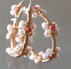 BAROQUE CORAL & PEARL HOOP EARRINGS