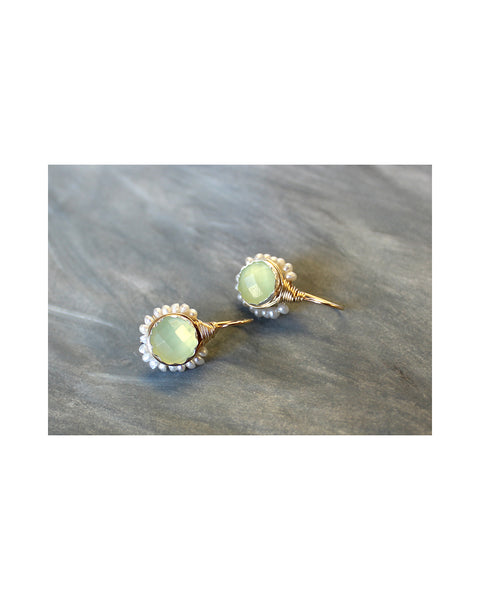 BAROQUE Bud EARRINGS (Green Jade & Pearl)
